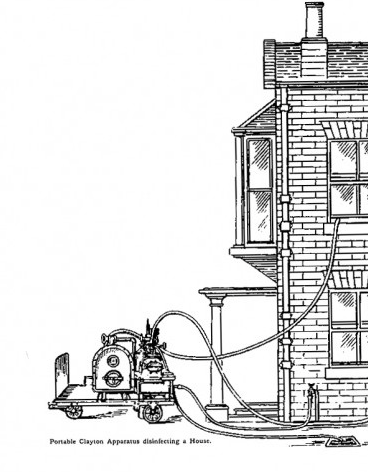 Apparatus disinfecting a House. Simpson, W.J. (1905). A Treatise on Plague. Cambridge: CUP